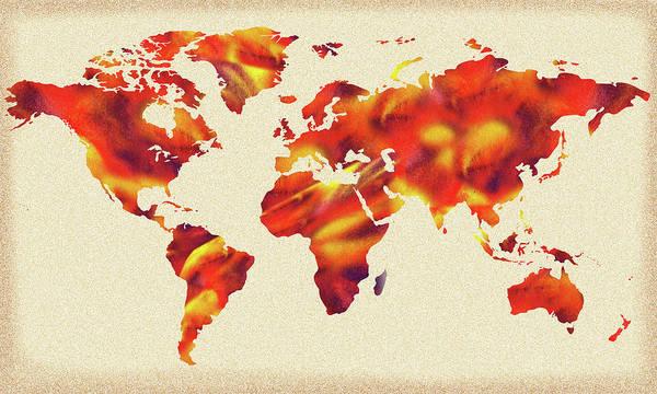 Painting - Global Warming Watercolor Map Of The World by Irina Sztukowski