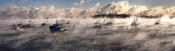Photograph - Globe Cove Fishing Boats Moored In Sea Smoke by Marty Saccone