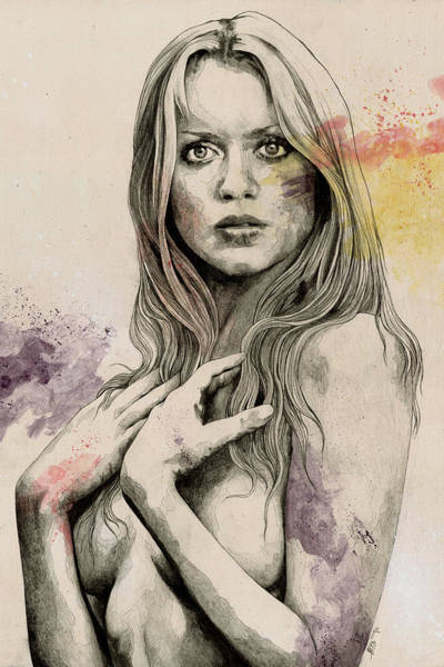 Italian Actress Wall Art - Drawing - Gloria - Sexy Nude Woman Sketch Drawing, Tribute To Gloria Guida by Marco Paludet