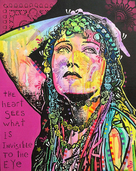 Gloria Wall Art - Painting - Gloria Swanson The Heart Sees Pink by Dean Russo Art