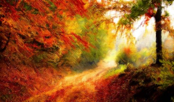 Painting - Glorious Autumn Forest Pathway by Joy of Life Art Gallery