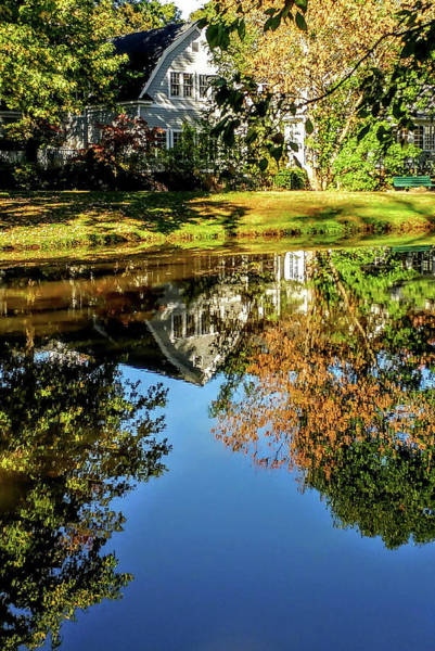 Photograph - Glorious Autumn Tappan Library Reflection by Roger Bester