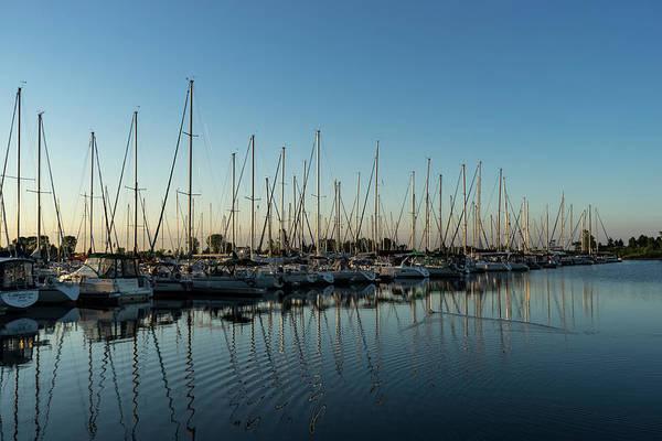 Photograph - Glossy Early Morning Ripples - Bright Blue Summer At The Marina by Georgia Mizuleva