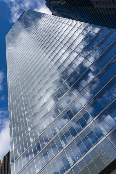 Photograph - Glossy Glass Reflections - Skyscraper Geometry With Clouds - Left by Georgia Mizuleva