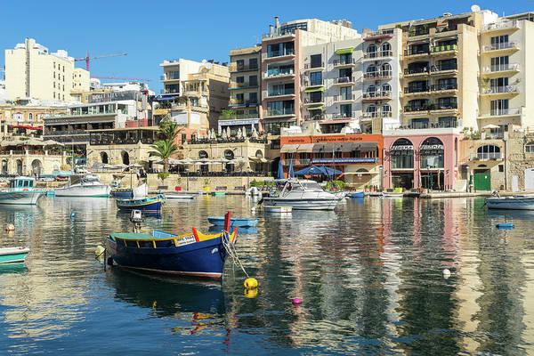 Photograph - Glossy Mediterranean Colors - Saint Julians Waterfront In Malta by Georgia Mizuleva