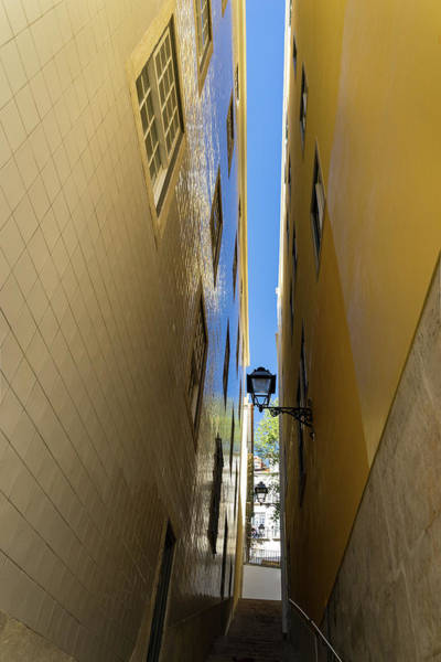 Photograph - Glossy Uphill Reflections - Golden Yellow Tile Mirror Reflecting The Sky by Georgia Mizuleva