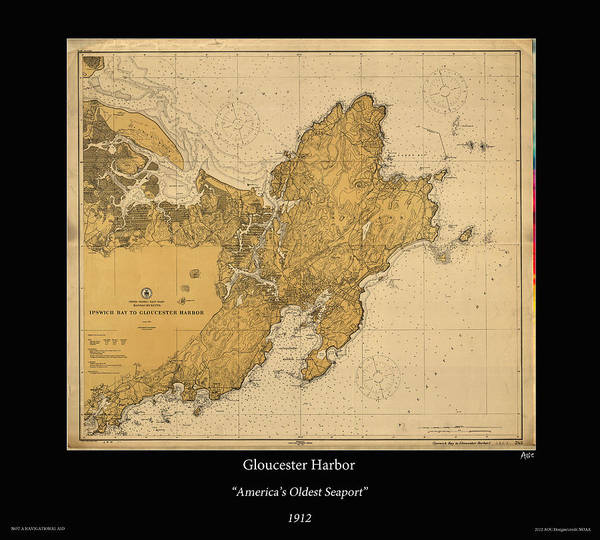Noaa Chart Wall Art - Photograph - Gloucester Harbor 1912 by Adelaide Images