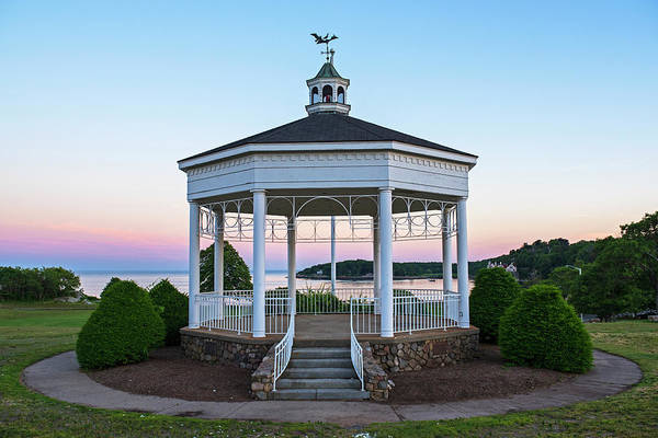 Photograph - Gloucester Ma Stage Fort Park Band Stand Gazebo Sunset Red Sky by Toby McGuire