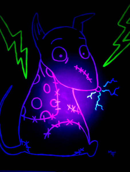 Blacklight Painting - Glow Frankenweenie Sparky by Marisela Mungia