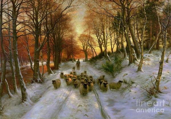 Snow Scene Painting - Glowed With Tints Of Evening Hours by Joseph Farquharson