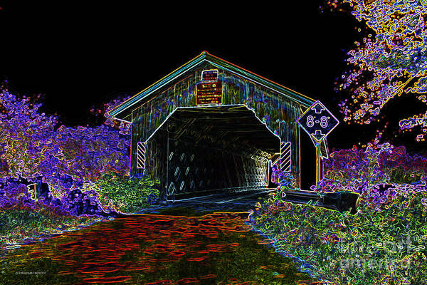 Photograph - Glowing Edge Covered Bridge by Deborah Benoit