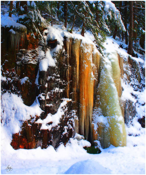 Photograph - Golden Glowing Icefall  by Wayne King