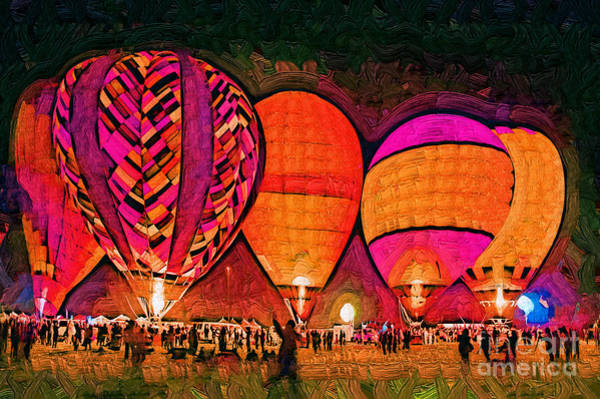 Balloon Festival Digital Art - Glowing Hot Air Balloons In Abstract by Kirt Tisdale