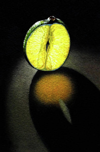 Lime Mixed Media - Glowing Lime Slice by Rebecca Giles