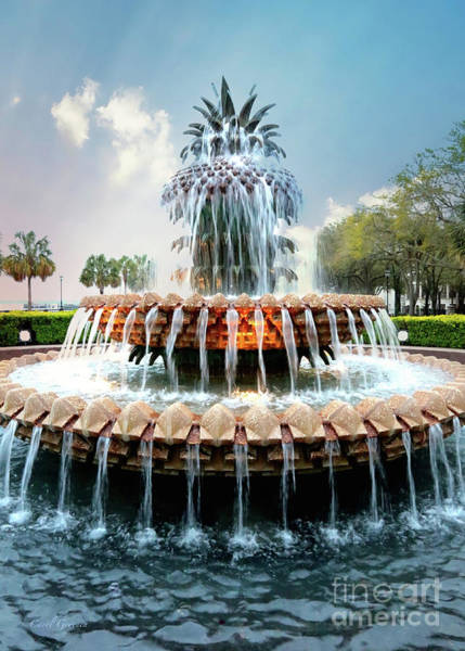 Photograph - Glowing Pineapple Fountain by Carol Groenen