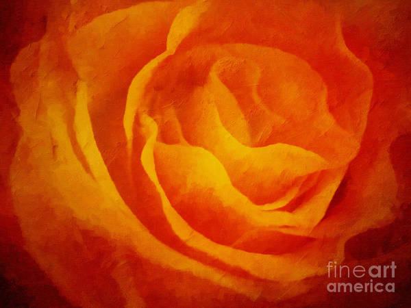 Painting - Glowing Rose by Lutz Baar