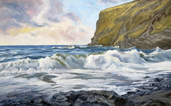 Painting - Glowing Sky At Pencannow Point by Lawrence Dyer