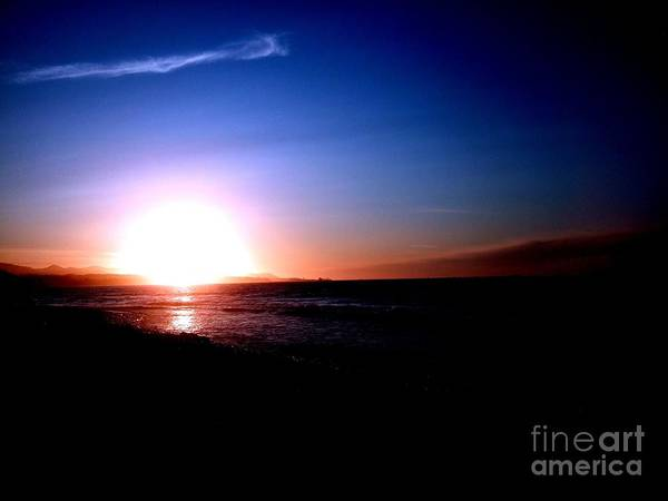 Photograph - Glowing Sunset On The Strait Of Juan De Fuca In Port Angeles Washington   by Delores Malcomson