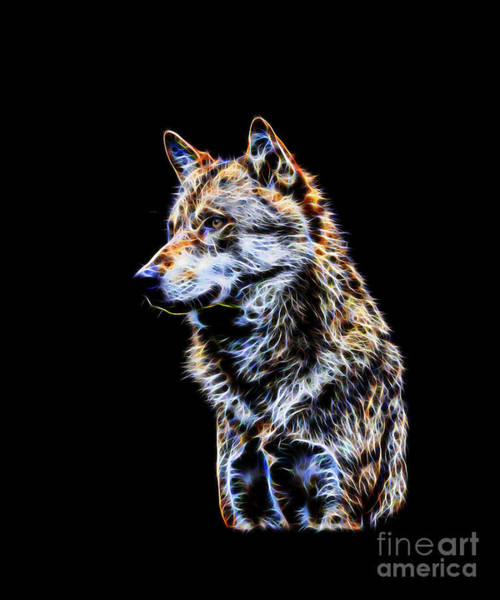 Digital Art - Glowing Wolf Fractal by Tracey Everington