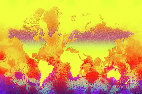 New Trend Digital Art - Glowing World Map by Zaira Dzhaubaeva