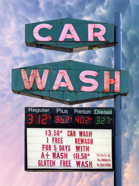 Car Wash Photograph - Gluten Free America Car Wash  by William Dey