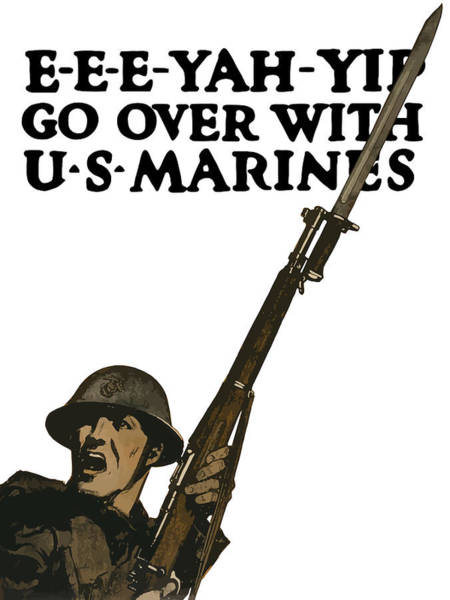 Wall Art - Painting - Go Over With Us Marines by War Is Hell Store