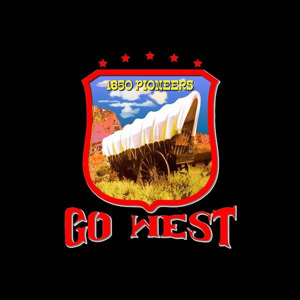 Tapestry - Textile - Go West Pioneer - Tshirt Design by Peter Potter