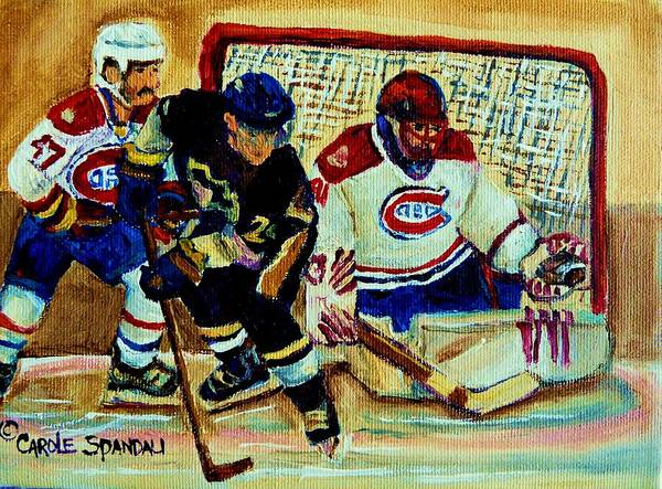 Painting - Goalie  And Hockey Art by Carole Spandau