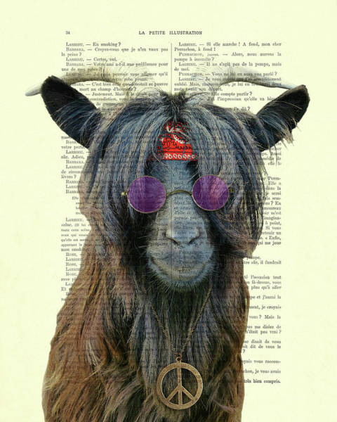 Peace Digital Art - Goat In Hippie Clothes With Purple Glasses And Peace Necklace by Madame Memento