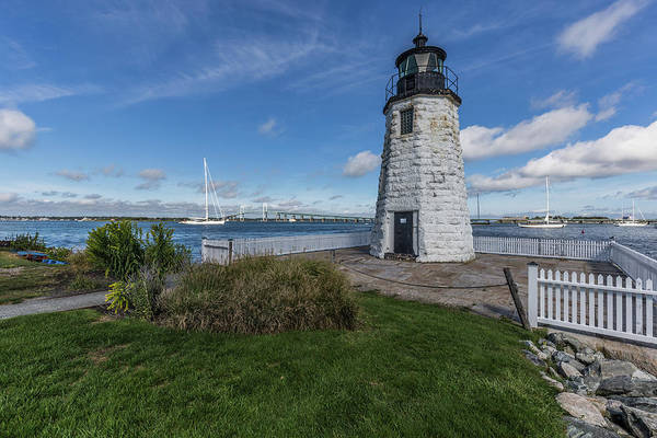 Photograph - Goat Island Light And The Newport Bridge by Brian MacLean