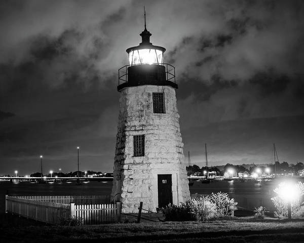 Photograph - Goat Island Lighthouse Newport Ri Black And White by Toby McGuire