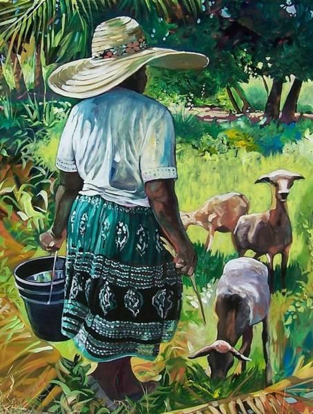 Caribbean Wall Art - Painting - Goat  Lady by Jan Farara
