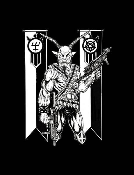 Demonic Drawing - Goat War Black by Alaric Barca