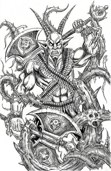 Demonic Drawing - Goatlord In The Myst by Alaric Barca