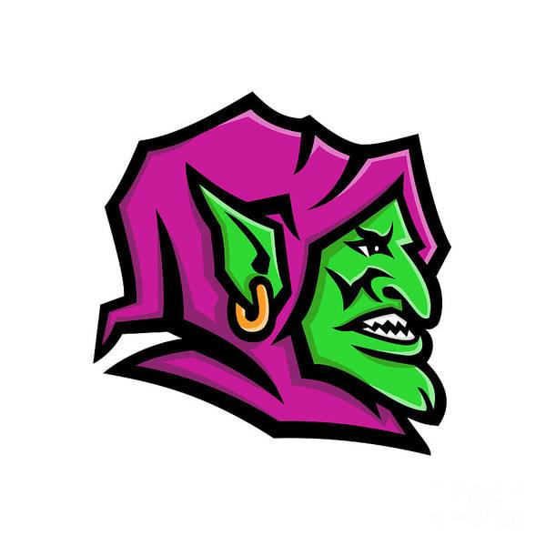 Grotesque Digital Art - Goblin Head Mascot by Aloysius Patrimonio