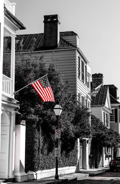 Photograph - God Bless America- Church St Charleston Sc by Donnie Whitaker