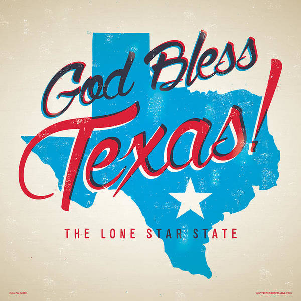 Fort Worth Digital Art - God Bless Texas by Jim Zahniser