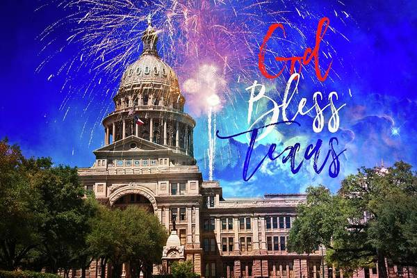 Photograph - God Bless Texas - State Capital Fireworks by Lynn Bauer