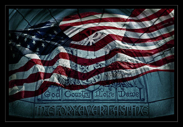 Holy Wall Art - Photograph - God Country Notre Dame American Flag by John Stephens