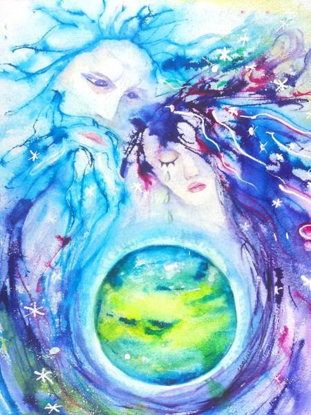 Mother Earth Wall Art - Painting - God, Goddess, Earth Ripple Effect by Carlin Blahnik CarlinArtWatercolor