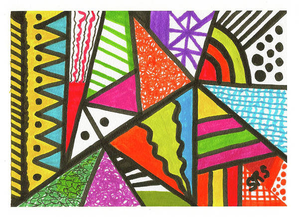 Drawing - God Is Color Redux by Susan Schanerman