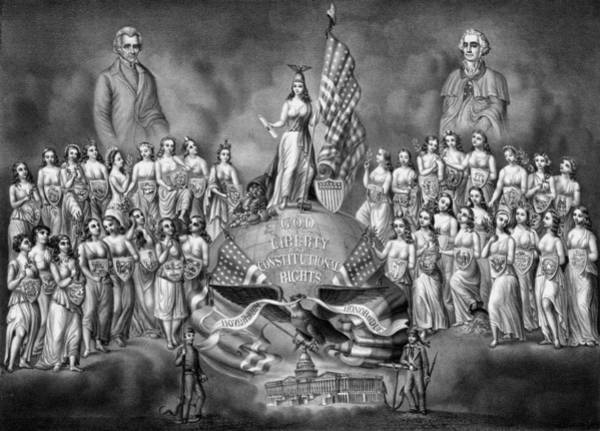 Reconstruction Drawing - God Liberty And Constitutional Rights by War Is Hell Store