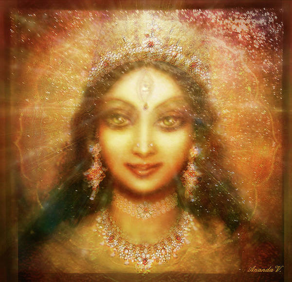 Wall Art - Mixed Media - Goddess Durga Face by Ananda Vdovic