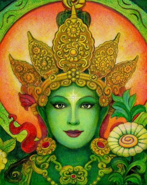 Tara Painting - Goddess Green Tara's Face by Sue Halstenberg