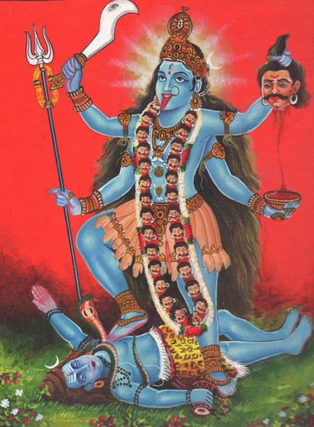 Wall Art - Painting - Goddess Kali Mata God Shiv,aadishakti, Miniature Painting Of India, Oil Painting, Artwork India. by M B Sharma