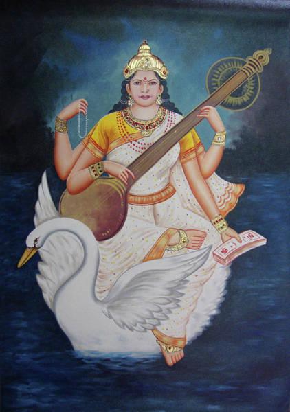 Wall Art - Painting - Goddess Saraswati, Goddess Of Art, Knowledge, Wisdom, Online Artwork, Oil Painting On Canvas. by B K Mitra