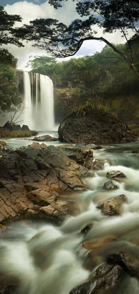 Queens Bath Photograph - Godfather Falls Wailua Falls Kauai by Sun Gallery Photography Lewis Carlyle