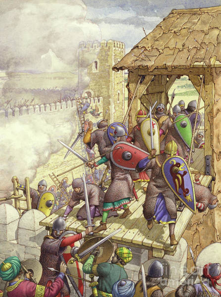 Warfare Painting - Godfrey De Bouillon's Forces Breach The Walls Of Jerusalem by Pat Nicolle