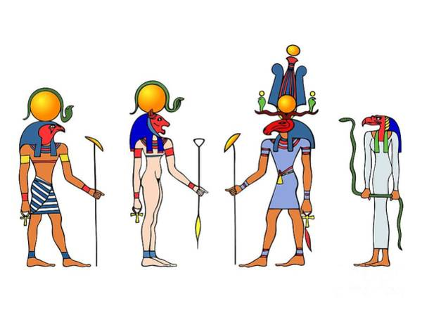 Old Wall Art - Drawing - Gods And Goddess Of Ancient Egypt by Michal Boubin