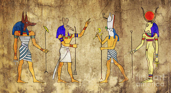 Old Wall Art - Digital Art - Gods Of Ancient Egypt by Michal Boubin